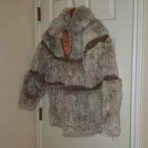 Vintage Genuine Rabbit with leather Fur Coat